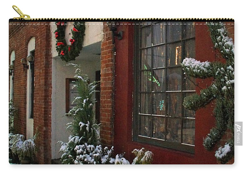 Snow Carry-all Pouch featuring the photograph Christmas Decorations In Grants Pass Old Town by Mick Anderson