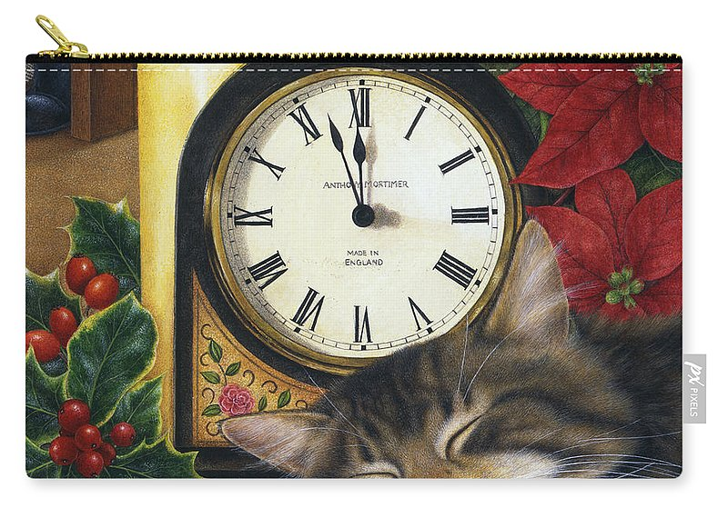 Art Licensing Carry-all Pouch featuring the painting Christmas Eve Nap by Anne Mortimer