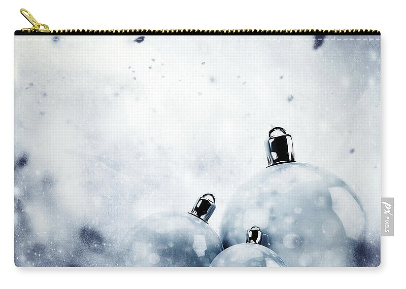 Winter Carry-all Pouch featuring the photograph Christmas Glass Balls On Winter Vintage Background by Michal Bednarek