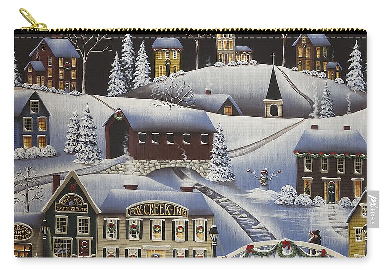 Art Carry-all Pouch featuring the painting Christmas In Fox Creek Village by Catherine Holman
