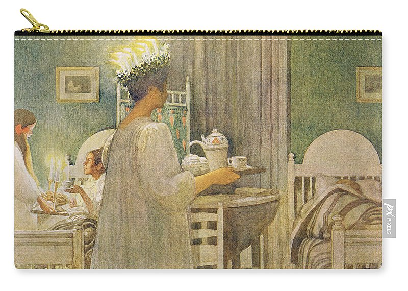 La Sainte Lucie Carry-all Pouch featuring the painting Christmas Morning, Pub. In Lasst Licht by Carl Larsson