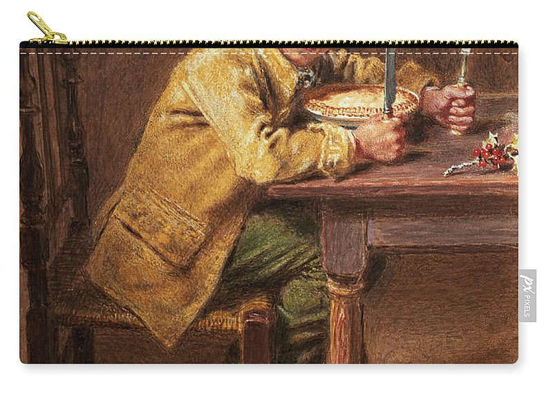 Eating Carry-all Pouch featuring the painting Christmas Pie by William Henry Hunt