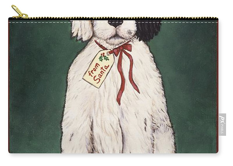 Folk Art Christmas Carry-all Pouch featuring the painting Christmas Puppy by Linda Mears