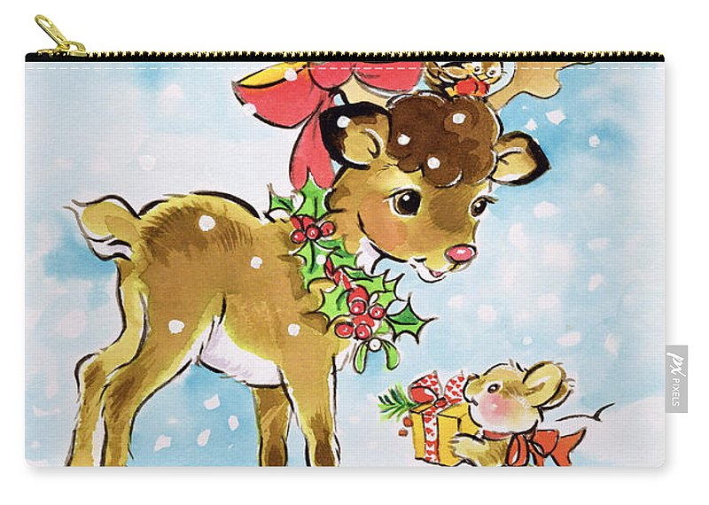 Deer Carry-all Pouch featuring the painting Christmas Reindeer And Rabbit by Diane Matthes