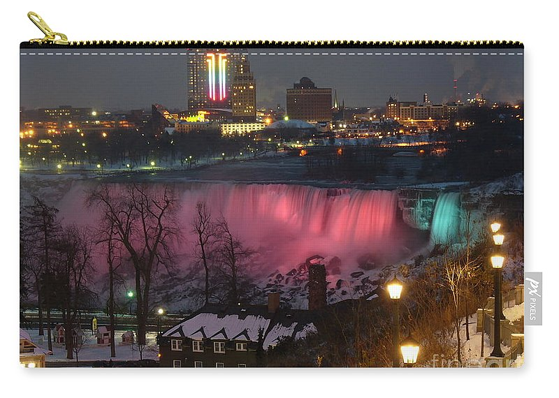 Niagara Falls Carry-all Pouch featuring the photograph Christmas Spirit At Niagara Falls by Lingfai Leung