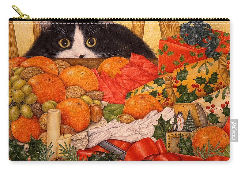 Art Licensing Carry-all Pouch featuring the painting Christmas Surprise by Anne Moritmer