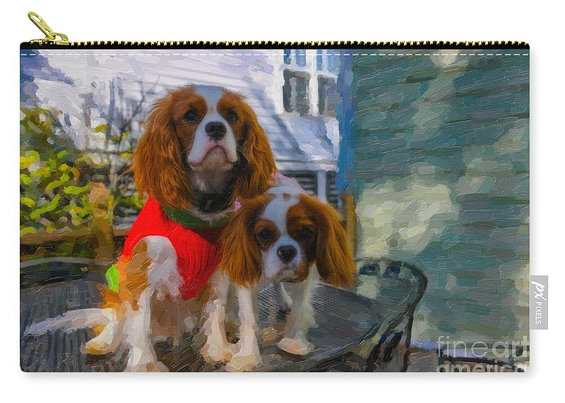 Cavalier King Charles Spaniel Carry-all Pouch featuring the digital art Christmas Sweater by Dale Powell