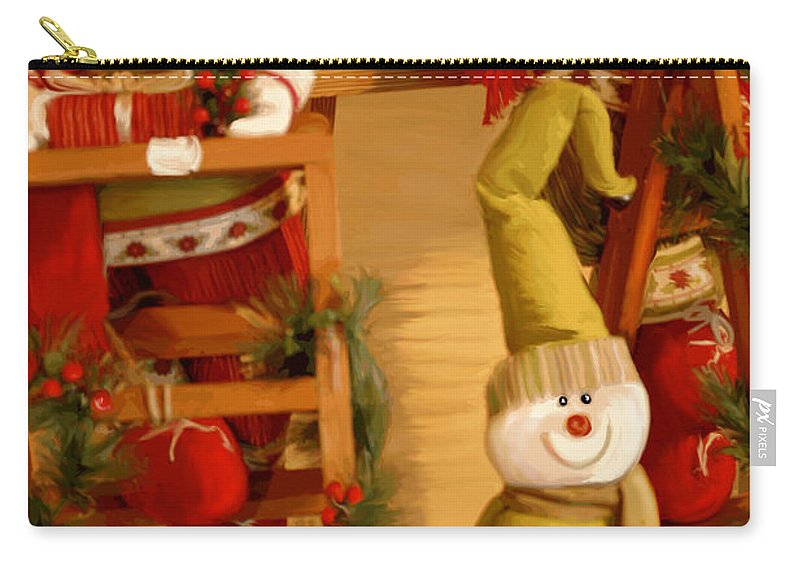 Toys Carry-all Pouch featuring the digital art Christmas Toys by Gina Dsgn