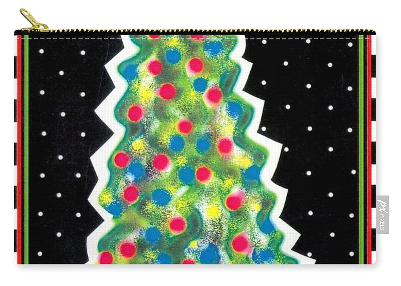 Christmas Tree Carry-all Pouch featuring the painting Christmas Tree Polkadots by Genevieve Esson