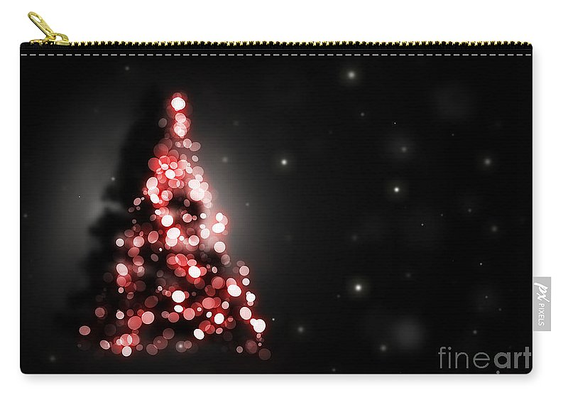 Tree Carry-all Pouch featuring the digital art Christmas Tree Shining On Black Background by Michal Bednarek