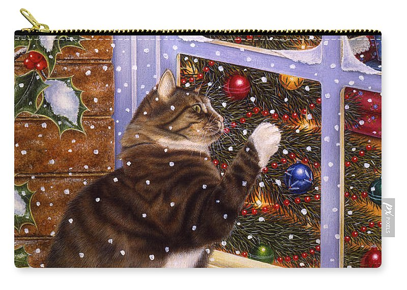 Art Licensing Carry-all Pouch featuring the painting Christmas Visitor by Anne Moritmer