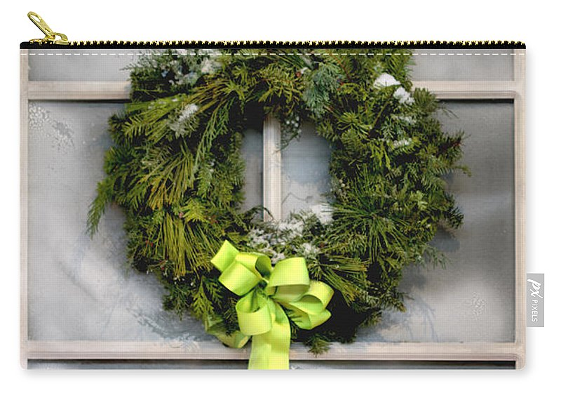 Window; Frost; Windowpane; Frosted; Wreath; Christmas; Red; Flowers; Country; House; Wooden; Home; Glass; Green; Bow; Poinsettia Carry-all Pouch featuring the photograph Christmas Windowpane by Margie Hurwich