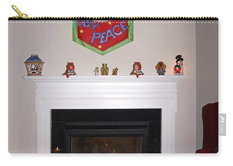 Fireplace Carry-all Pouch featuring the photograph Christmas Wishes by Sally Weigand
