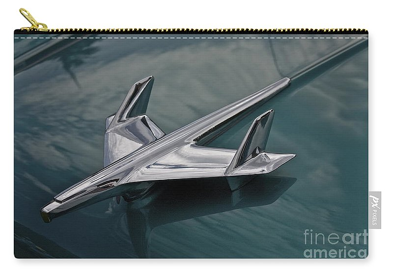 Plane Carry-all Pouch featuring the photograph Chrome Airplane Hood Ornament by Linda Bianic