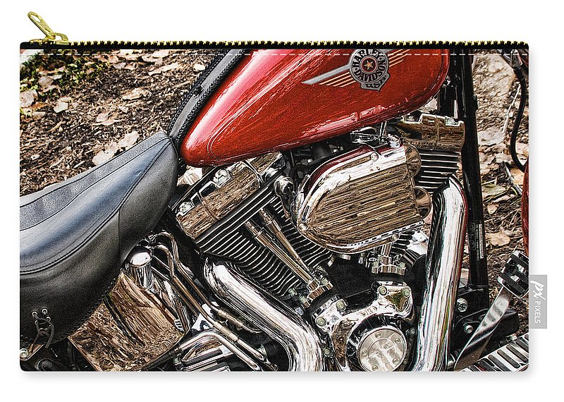 Harley Davidson Carry-all Pouch featuring the photograph Chrome And Red by Cindy Tiefenbrunn