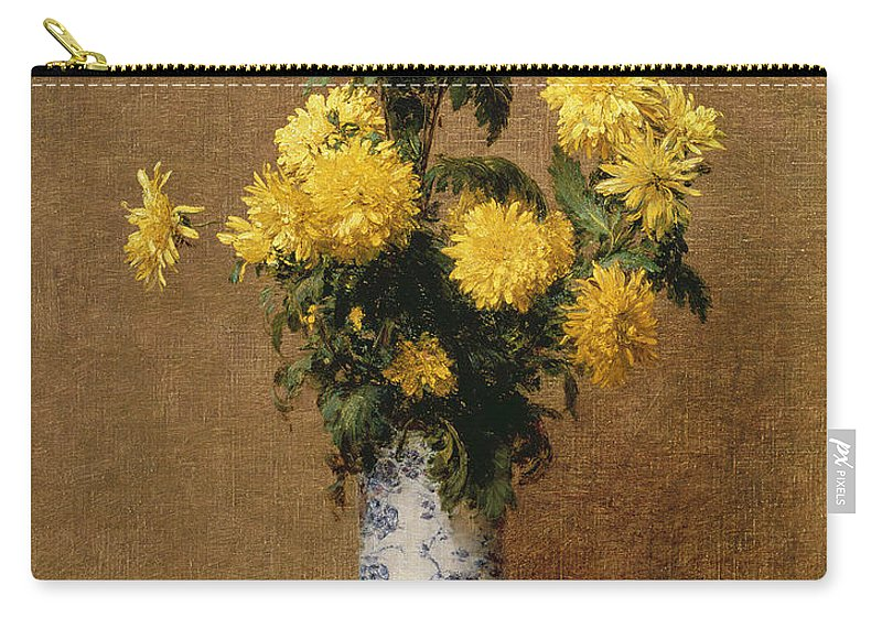 Yellow Flower Carry-all Pouch featuring the painting Chrysanthemums, 1879 by Ignace Henri Jean Fantin-Latour