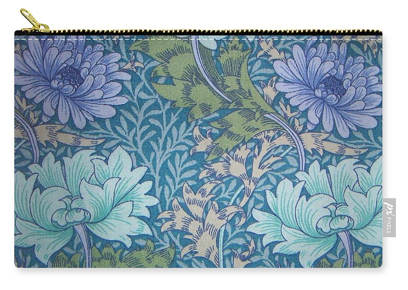 William Carry-all Pouch featuring the tapestry - textile Chrysanthemums In Blue by William Morris