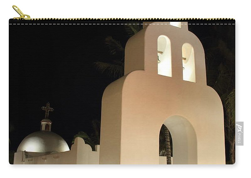 Church Carry-all Pouch featuring the photograph Church At Night In Playa Del Carmen by Roupen Baker