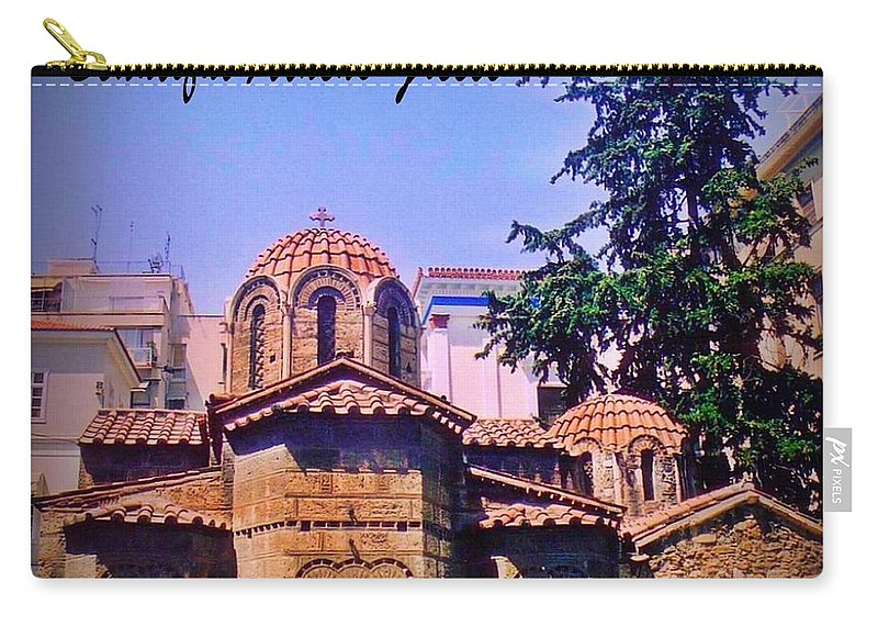 Church In Beautiful Athens Carry-all Pouch featuring the photograph Church In Beautiful Athens by John Malone