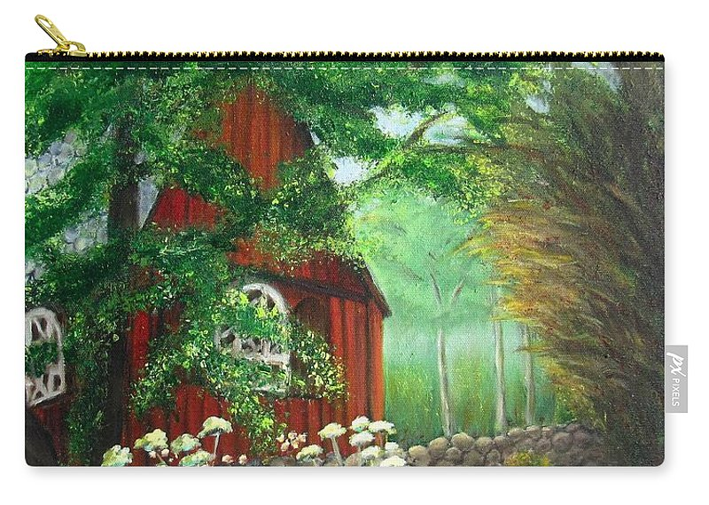 Church Carry-all Pouch featuring the painting Church In The Glen by Laurie Morgan