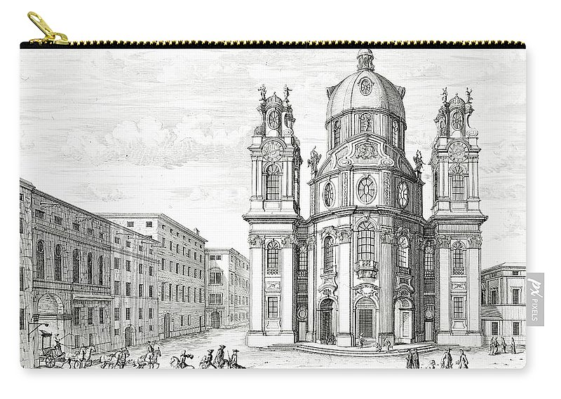 Baroque Carry-all Pouch featuring the drawing Church Of Notre Dame, Salzburg by Johann Bernhard Fischer von Erlach