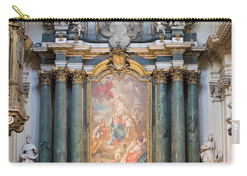 Painting Carry-all Pouch featuring the photograph Church Of Santa Barbara Interior In Madrid by Artur Bogacki