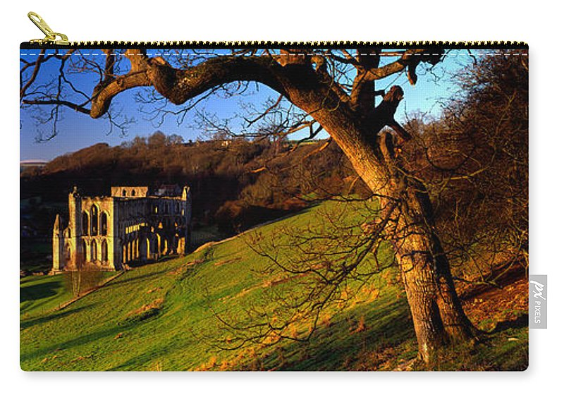 Photography Carry-all Pouch featuring the photograph Church On A Landscape, Rievaulx Abbey by Panoramic Images
