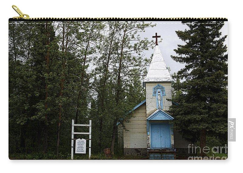 Church Carry-all Pouch featuring the photograph Church On Alaskan Highway by David Arment