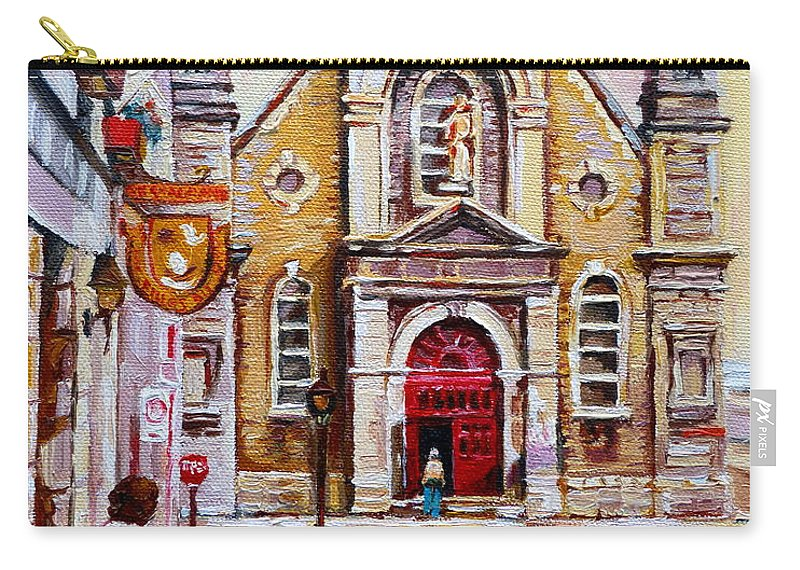 Montreal Churches Carry-all Pouch featuring the painting Church On Sunday by Carole Spandau