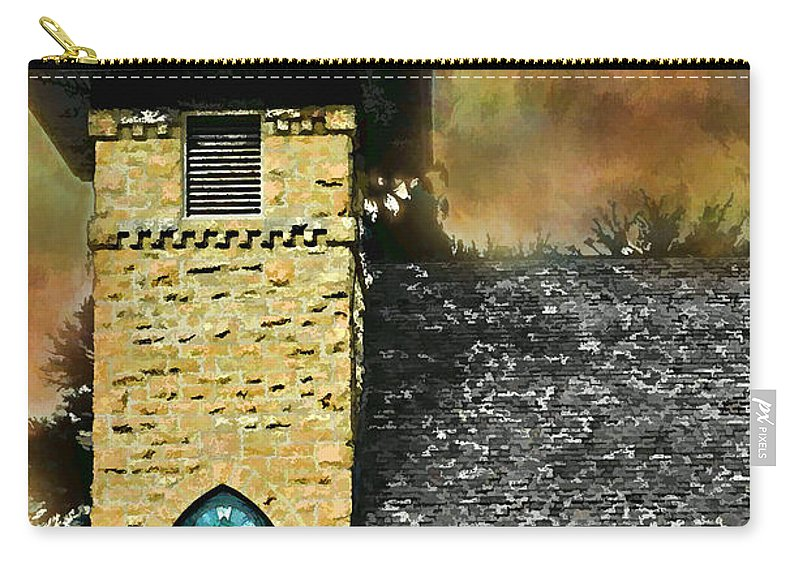 Arcitectur Carry-all Pouch featuring the photograph Church Painted Effect by Debbie Portwood
