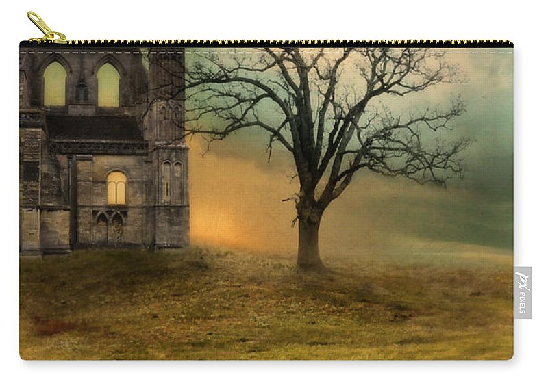Ruin Carry-all Pouch featuring the photograph Church Ruin With Stormy Skies by Jill Battaglia