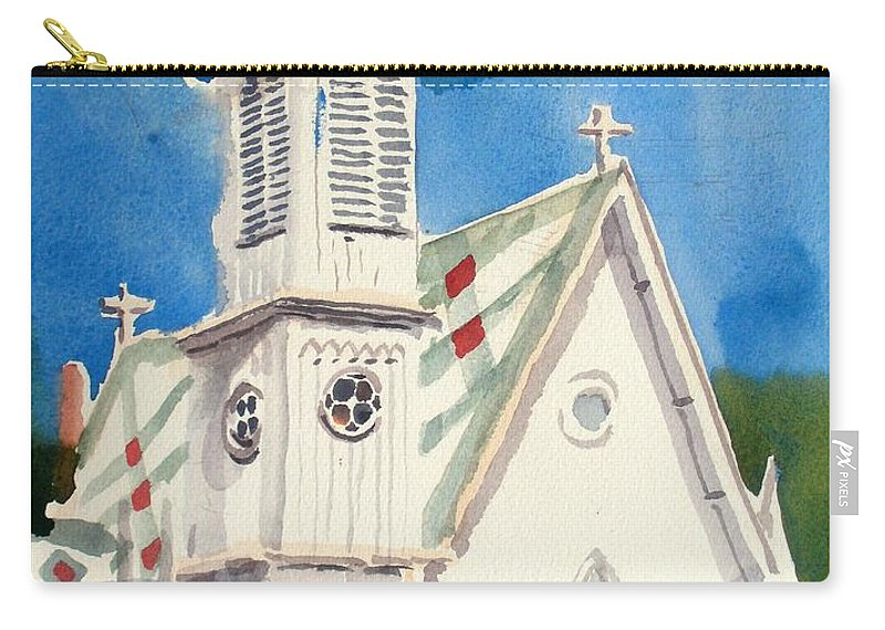 Church Carry-all Pouch featuring the painting Church With Jet Contrail by Kip DeVore