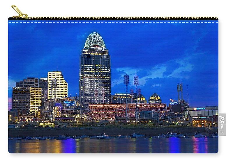 Cincinnati Carry-all Pouch featuring the photograph Cincinnati At Sunset by Edward Moorhead