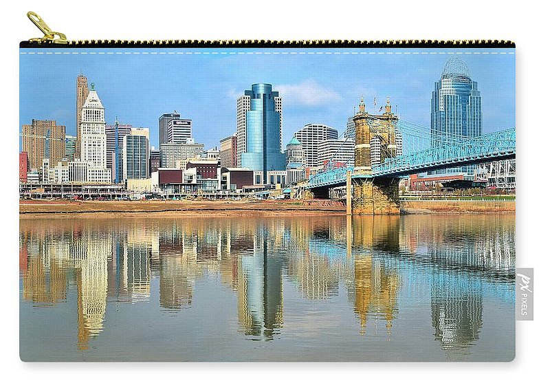 Cincinnati Carry-all Pouch featuring the photograph Cincinnati Reflects by Frozen in Time Fine Art Photography