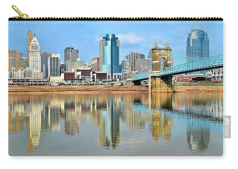 Cincinnati Carry-all Pouch featuring the photograph Cincinnati Skyline Reflects by Frozen in Time Fine Art Photography