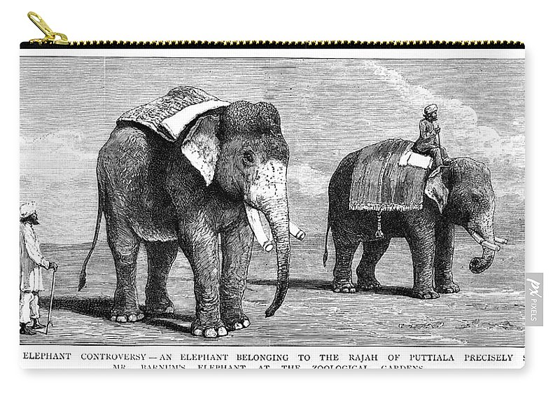 1884 Carry-all Pouch featuring the painting Circus Elephants, 1884 by Granger