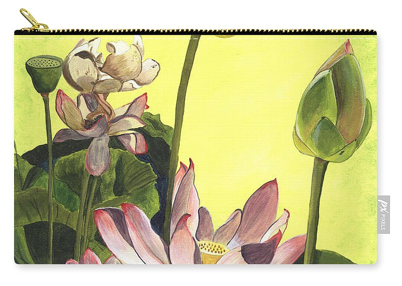 Floral Carry-all Pouch featuring the painting Citron Lotus 1 by Debbie DeWitt