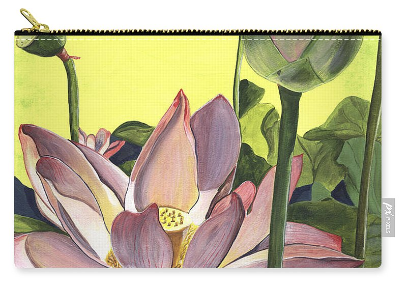 Floral Carry-all Pouch featuring the painting Citron Lotus 2 by Debbie DeWitt