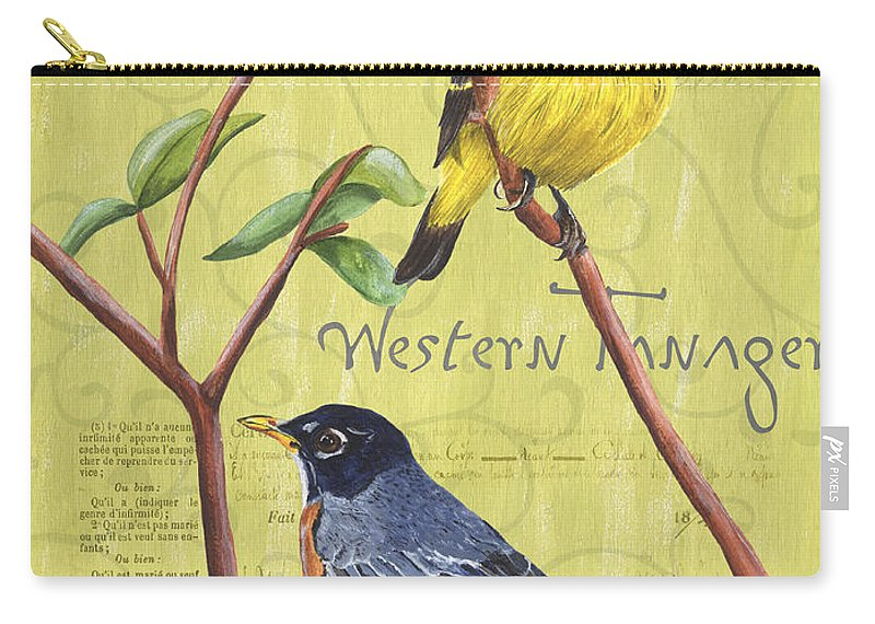 Bird Carry-all Pouch featuring the painting Citron Songbirds 2 by Debbie DeWitt