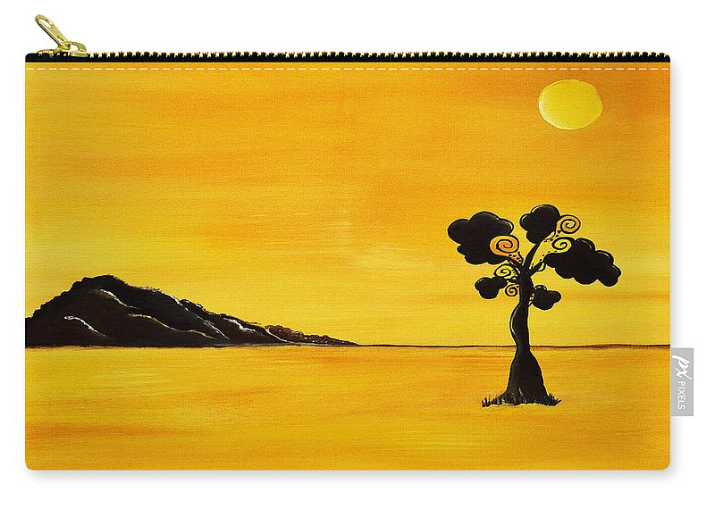 Acrylic Painting Carry-all Pouch featuring the painting Citrus Sunset by Sherry Allen