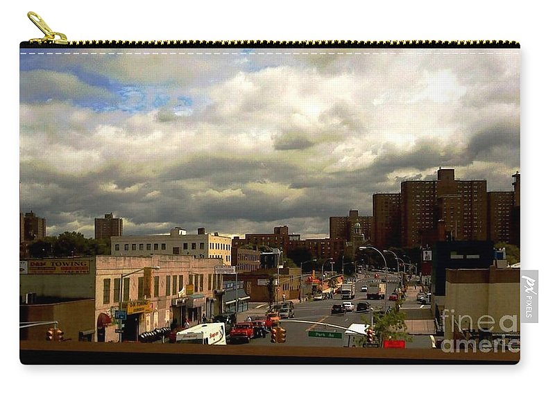 New York Carry-all Pouch featuring the photograph City And Sky by Miriam Danar