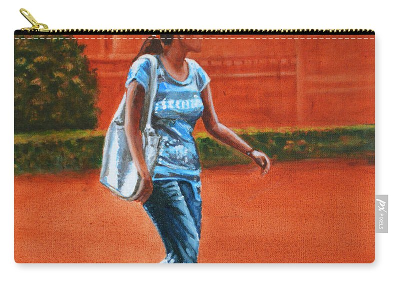 City Carry-all Pouch featuring the painting City Girl by Usha Shantharam
