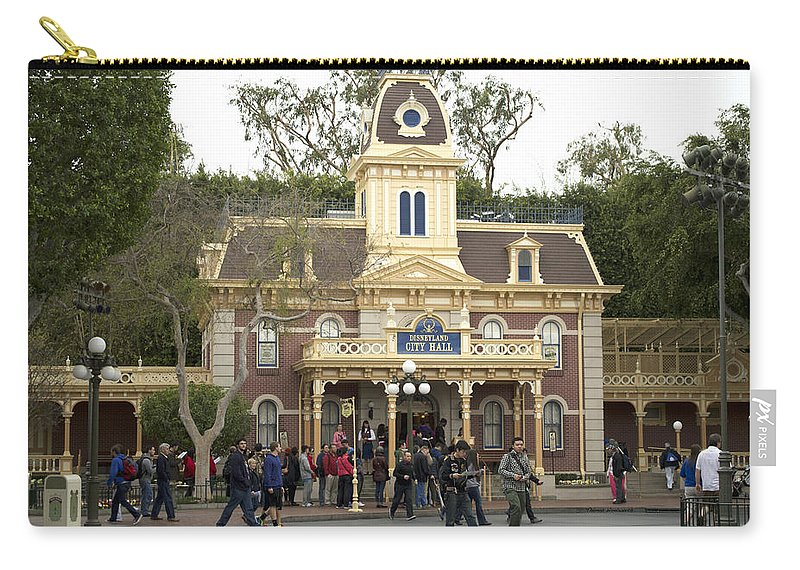 Disney Carry-all Pouch featuring the photograph City Hall Main Street Disneyland by Thomas Woolworth