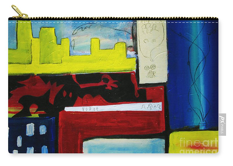Painting Carry-all Pouch featuring the painting City Life by Jeff Barrett