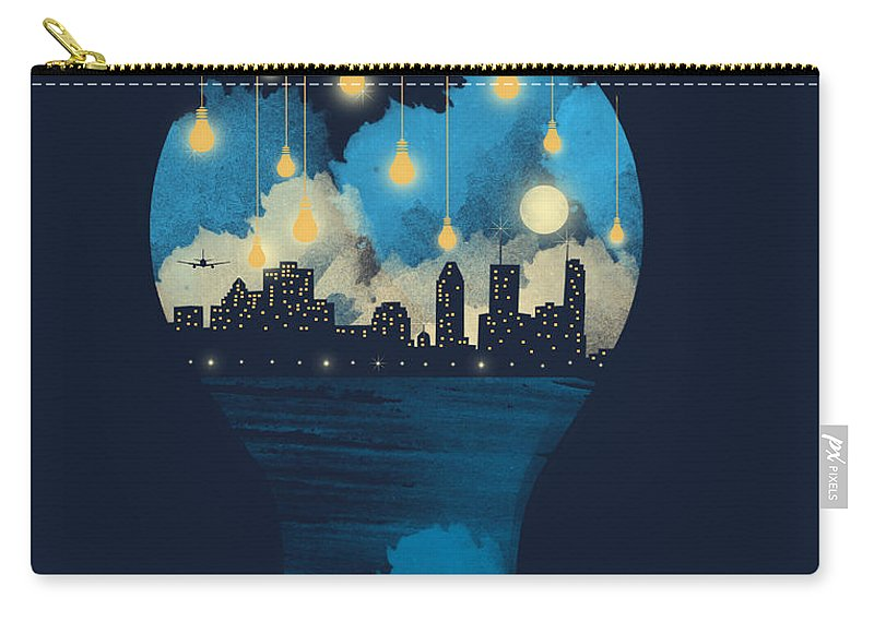 Surreal Carry-all Pouch featuring the digital art City Lights by Neelanjana Bandyopadhyay