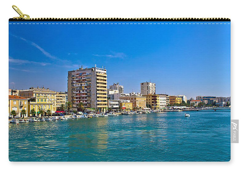 Croatia Carry-all Pouch featuring the photograph City Of Zadar Waterfront And Harbor by Brch Photography