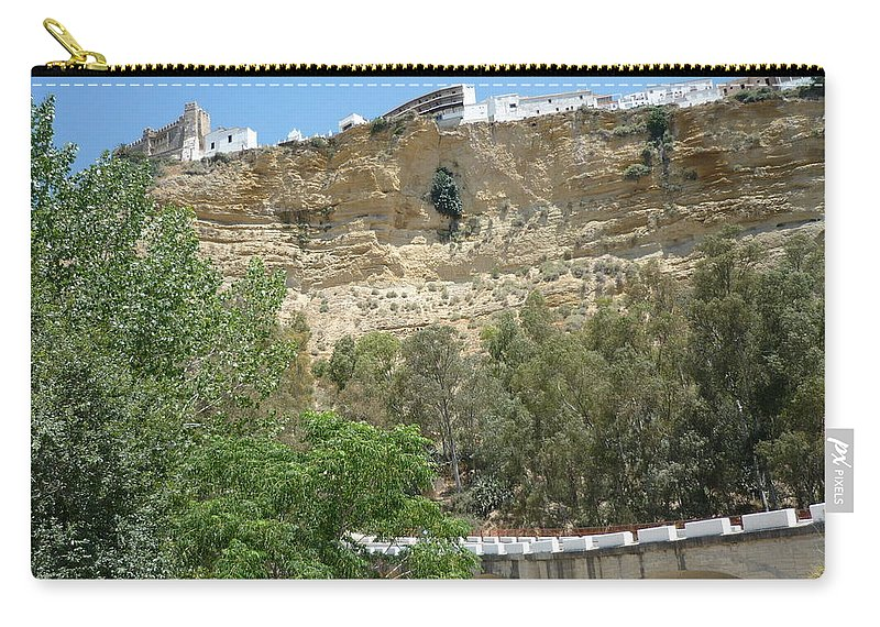 Cliff City Carry-all Pouch featuring the photograph City On A Cliff by Kimberly Maxwell Grantier