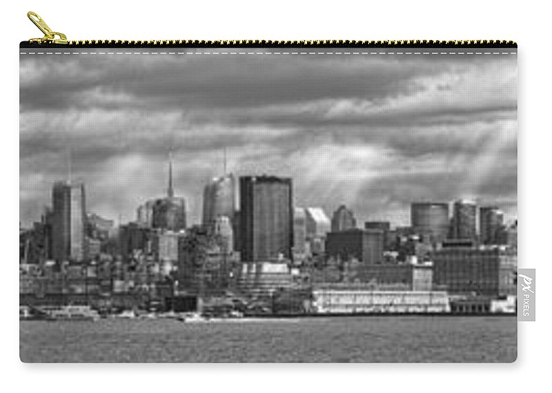 New York Carry-all Pouch featuring the photograph City - Skyline - Hoboken Nj - The Ever Changing Skyline - Bw by Mike Savad