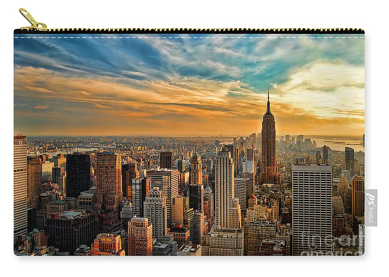 New York City Carry-all Pouch featuring the photograph City Sunset New York City Usa by Sabine Jacobs