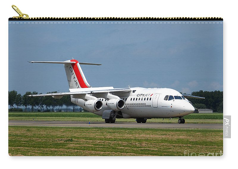 737 Carry-all Pouch featuring the photograph Cityjet British Aerospace Avro Rj85 by Paul Fearn